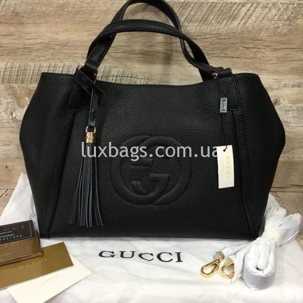 черная женская сумка gucci гуччи на двух сумках