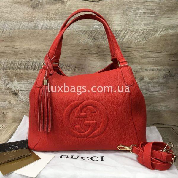 женская сумка на двух ручках красная гуччи