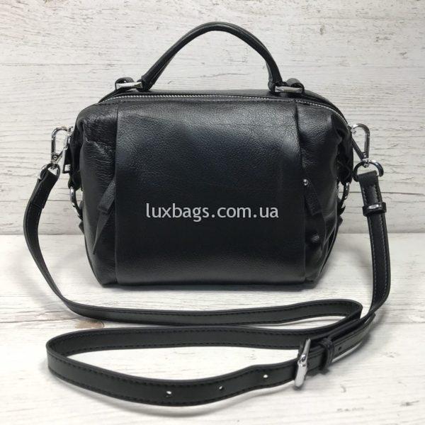 кожаная сумка небольшая черная через плечо
