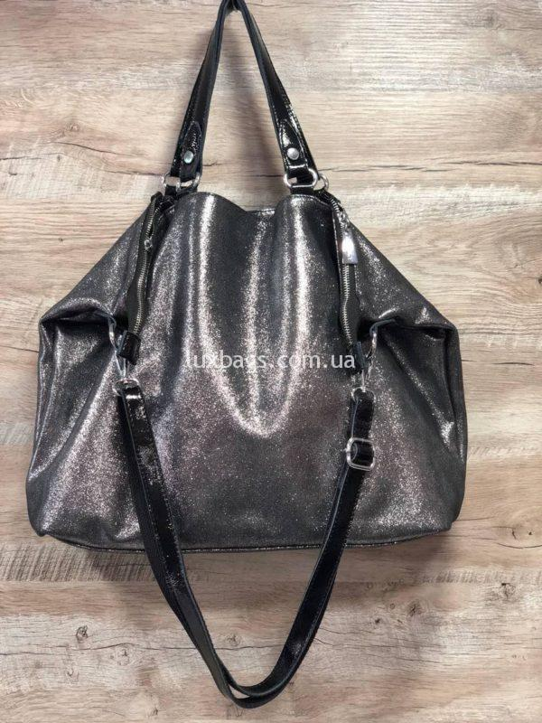 серебряная сумка шоппер шопер