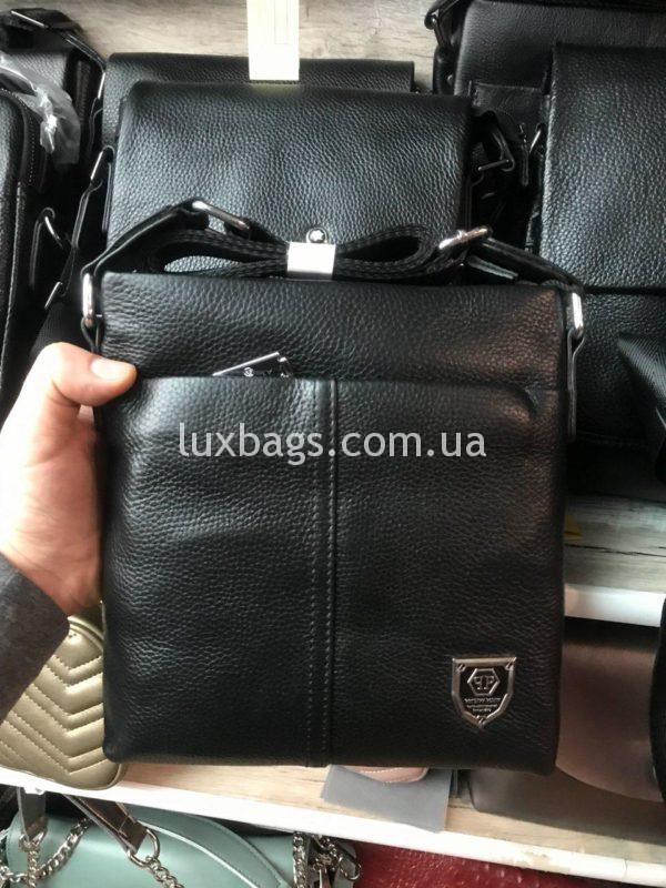 Мужская кожаная сумка Philipp Plein через плечо фото 2