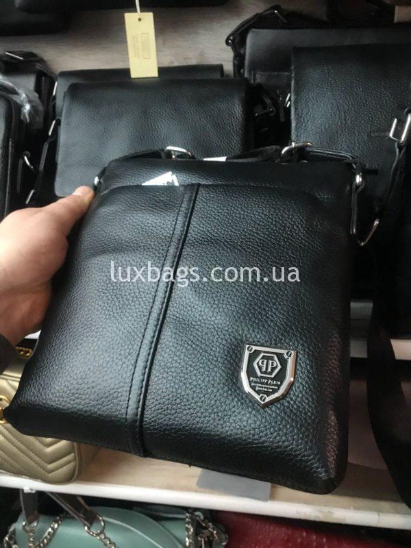 Мужская кожаная сумка Philipp Plein через плечо фото