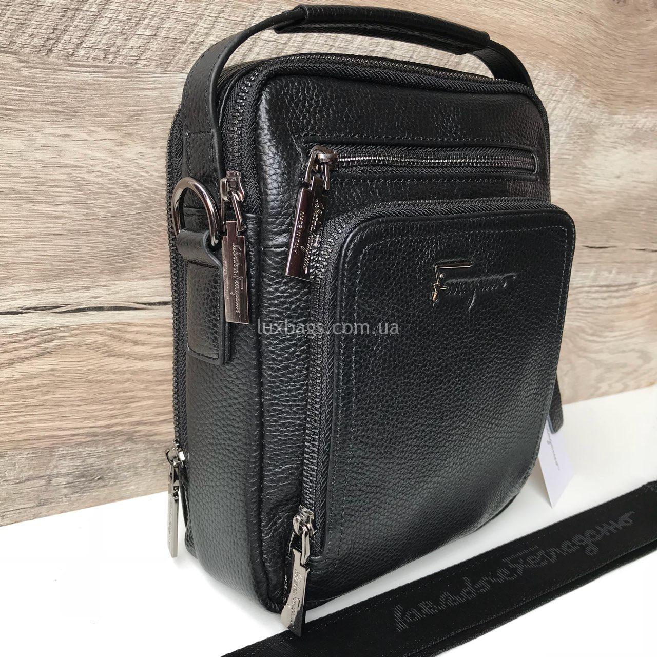 8749c4b9e409 Мужская кожаная барсетка/ сумка через плечо Salvatore Ferragamo