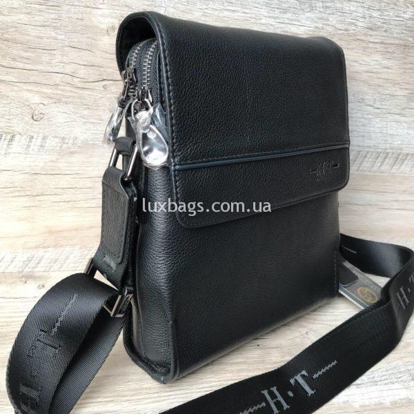 Мужская кожаная сумка через плечо H.T leather с клапаном