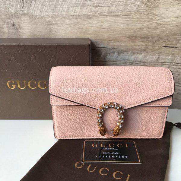 Кожаная сумочка Gucci розовая купить