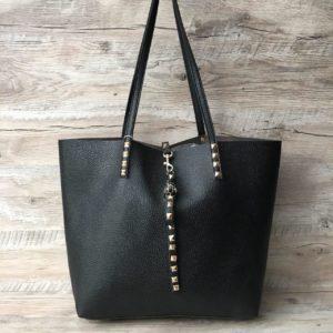 Женская стильная сумка с высокими ручками черная