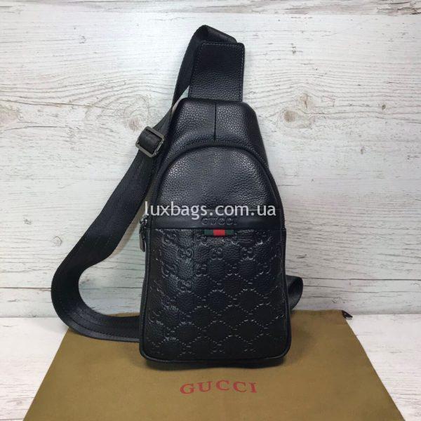 Мужская сумка бананка слинг Gucci Гуччи черная фото