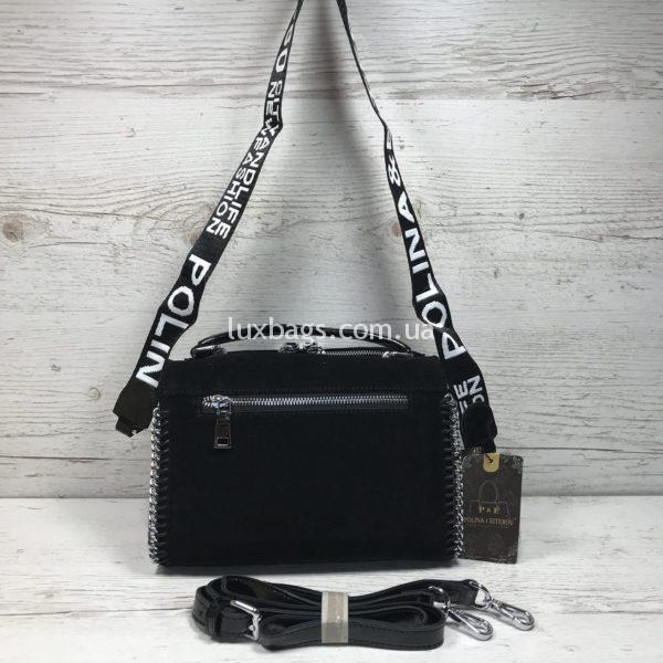 Женская черная замшевая сумка