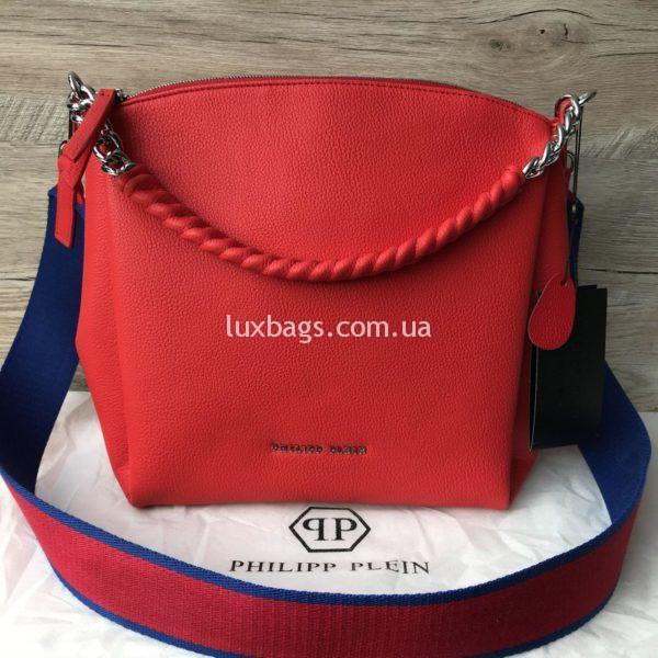 Женская сумка Philipp Plein красная через плечо