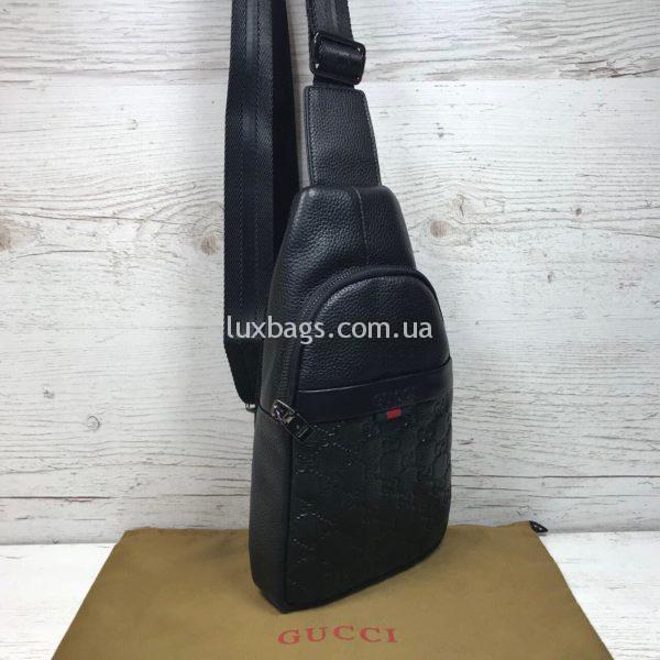 Мужская сумка бананка слинг Gucci Гуччи черная