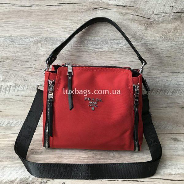 Женская текстильная стильная сума Prada красная фото
