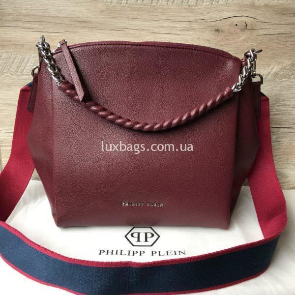 Женская сумка Philipp Plein цвета марсала