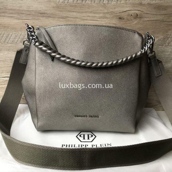 Женская сумка Philipp Plein серебряного цвета