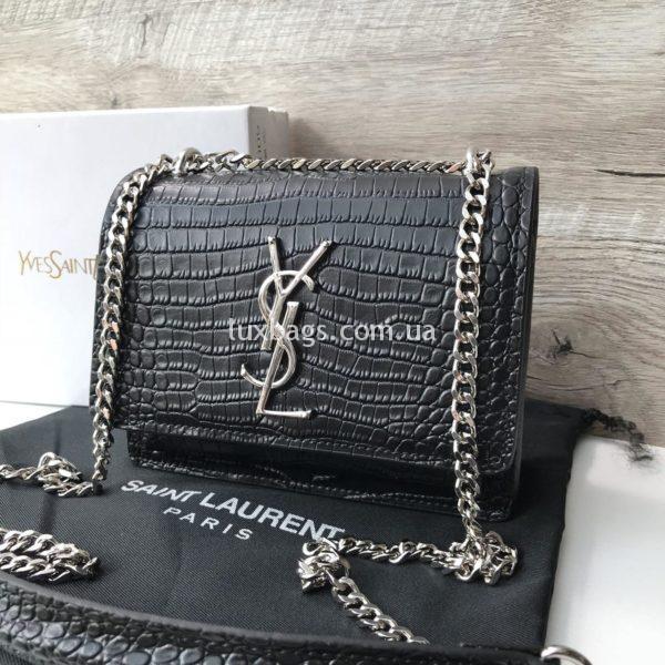 Женская маленькая черная сумочка Yves Saint Lauren Ysl