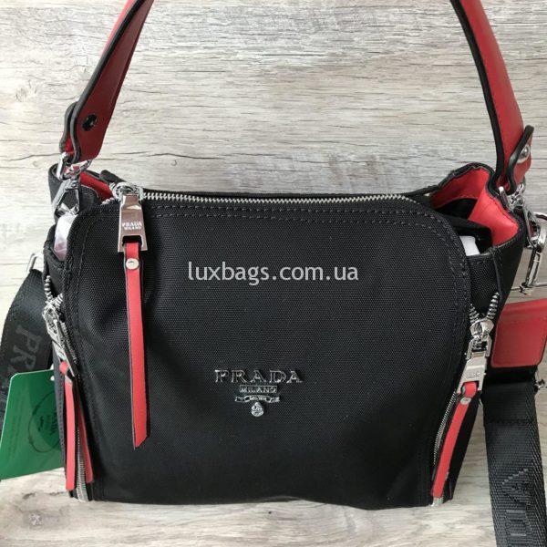 текстильная сумка прада черная