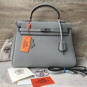 серая Женская сумка Hermes Kelly купить