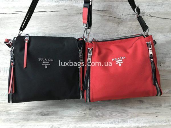 Женские текстильные сумки Prada черная и красная