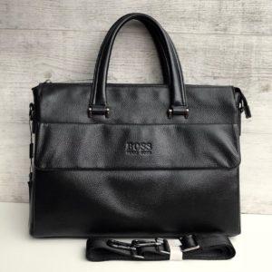 Черный кожаный мужской портфель Hugo Boss