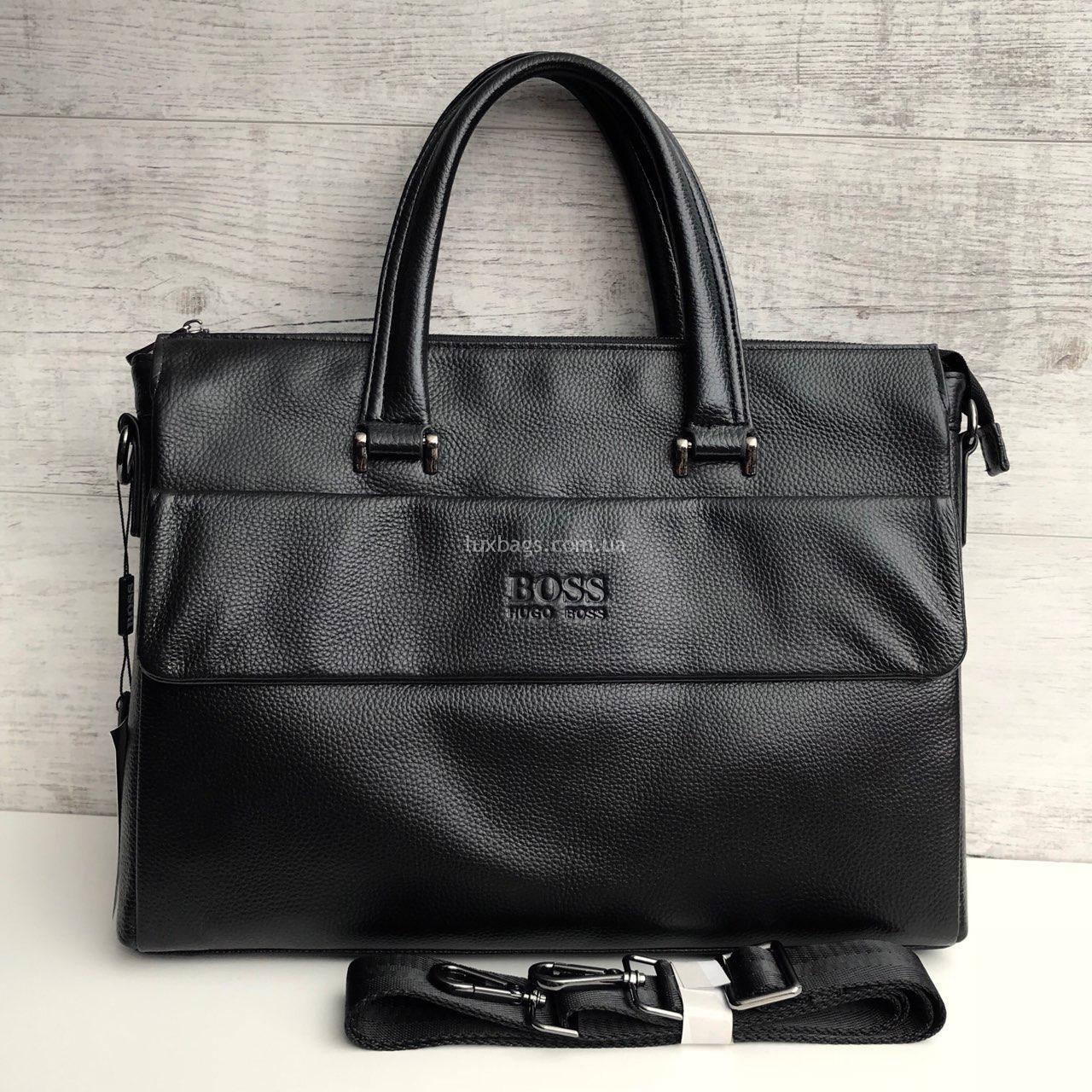 1a5acbf55759 Черный кожаный портфель Hugo Boss Купить на lux-bags