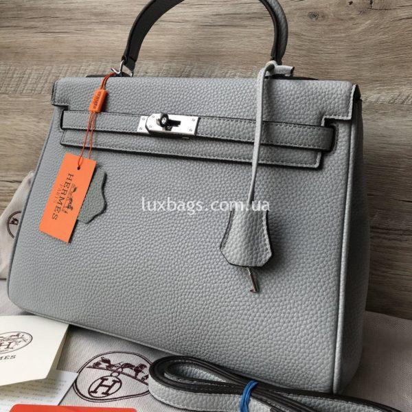 Женская сумка Hermes Kelly фото серой сумки