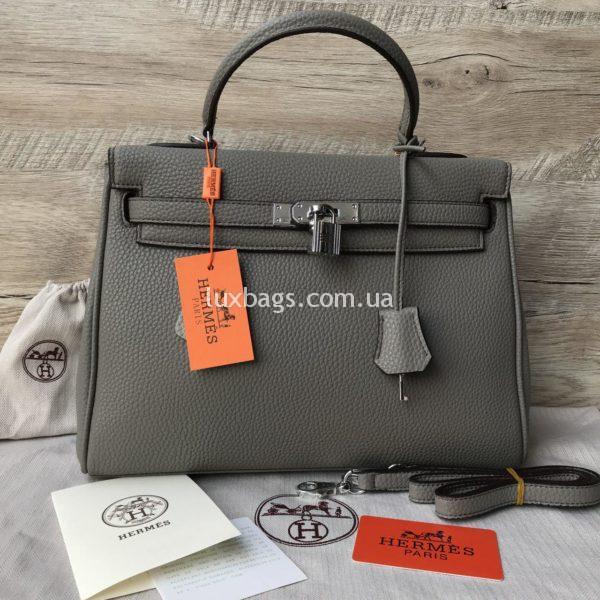 серая Женская сумка Hermes Kelly