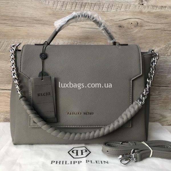 Крутая сумка Philipp Plein серая