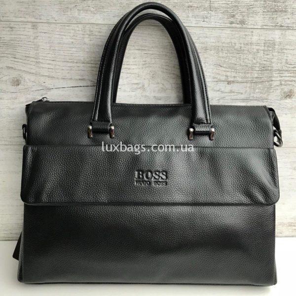 Черный кожаный портфель Hugo Boss хьюго босс