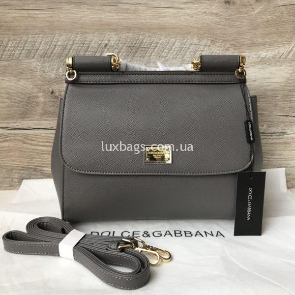 Женская сумка Dolce & Gabbana Miss Sicily серая медиум