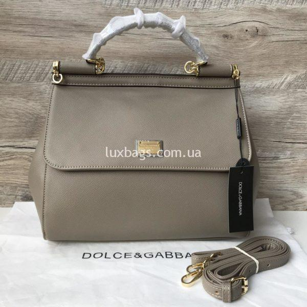Женская сумка Dolce & Gabbana Miss Sicily бежевая медиум