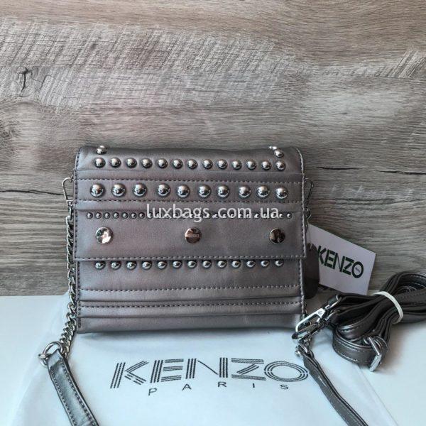 Женская сумочка Kenzo серебряного цвета