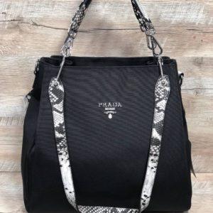 Женская сумка из плащевка Prada черная