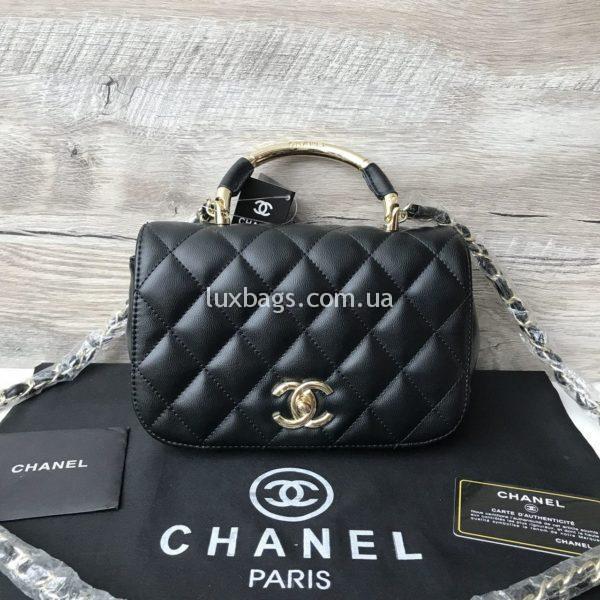 Женская стильная сумка Chanel на цепочке черная
