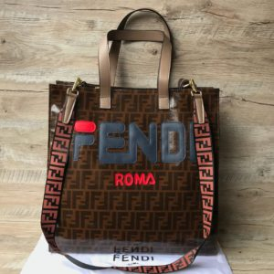Женская сумка шоппер Fendi Фенди коричневый
