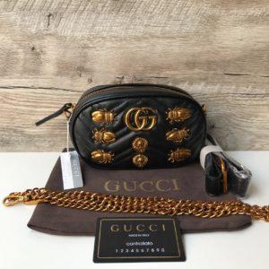 Женская поясная сумка Гуччи черная
