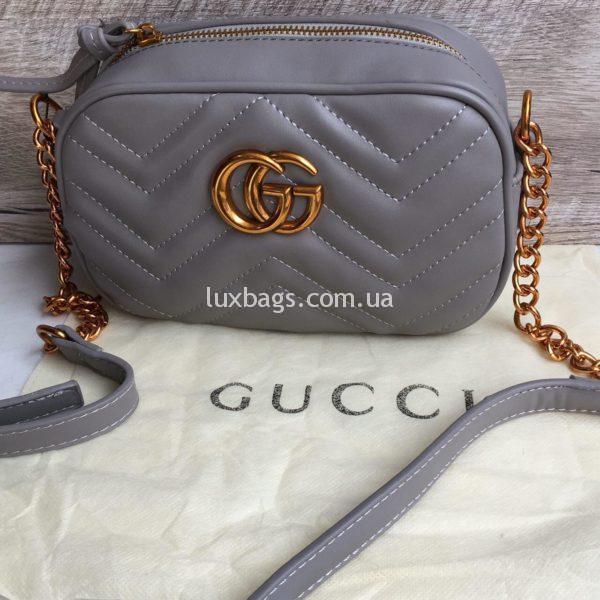 маленькая сумка Gucci Гуччи Marmont серая