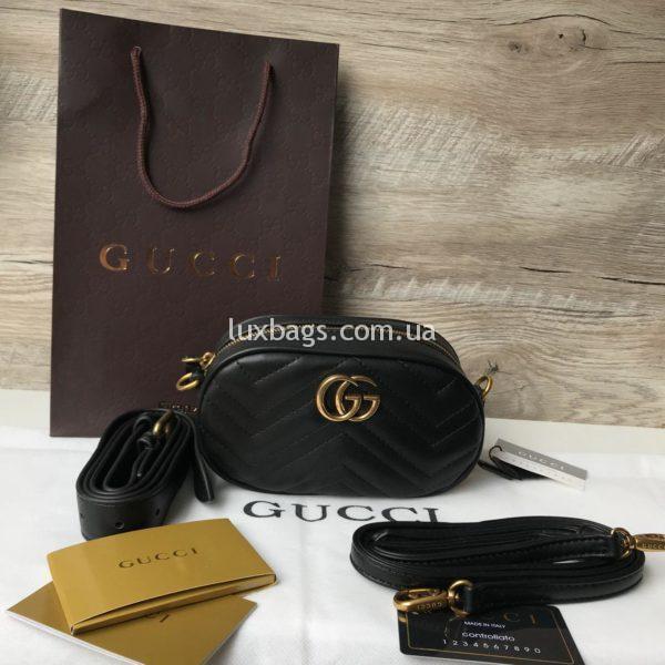 клатч сумка поясная Gucci Marmont Гуччи черная