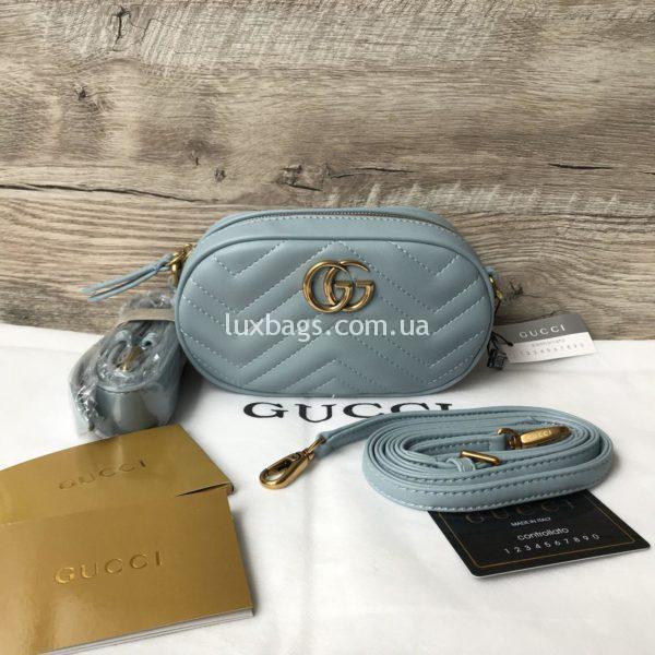 клатч сумка поясная Gucci Marmont Гуччи голубая
