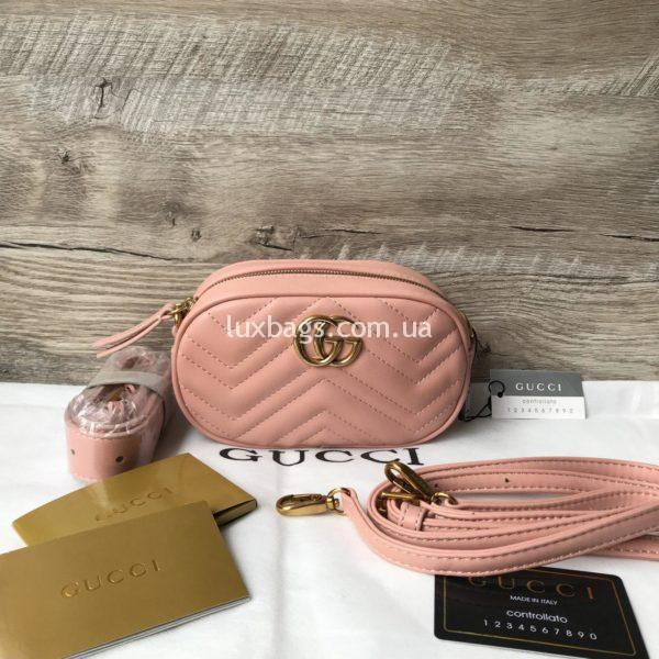 клатч сумка поясная Gucci Marmont Гуччи розовая