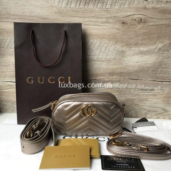 клатч сумка поясная Gucci Marmont Гуччи бронзовая