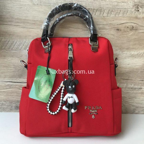 красная сумка рюкзак Prada Прада
