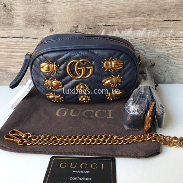 Женская поясная сумка Гуччи GUCCI синяя