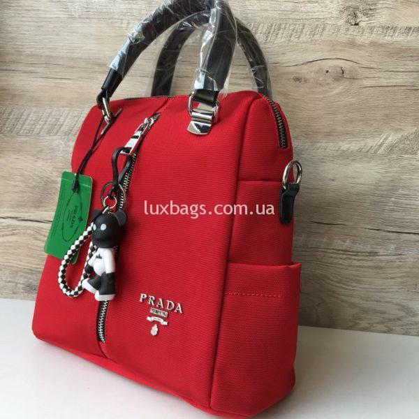 Женская сумка рюкзак Prada Прада красная