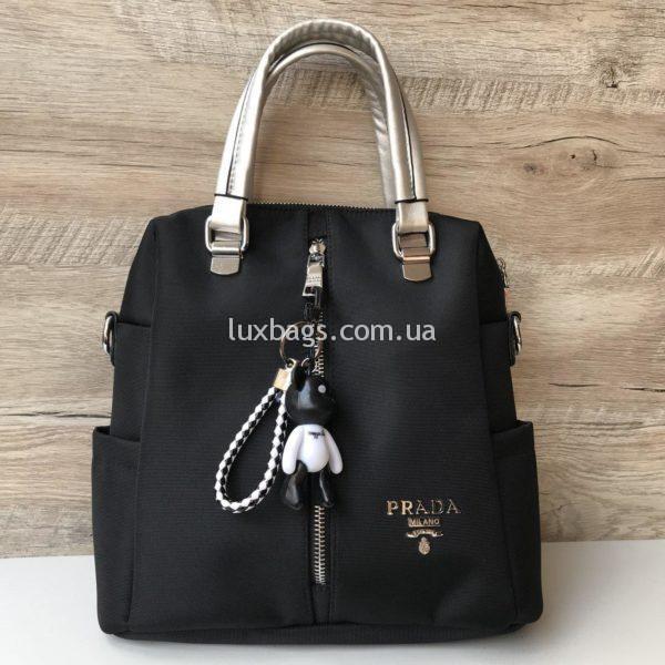 Женская сумка рюкзак Prada Прада фото черная