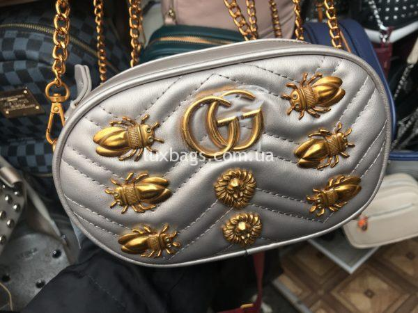 Женская поясная сумка Гуччи GUCCI серая