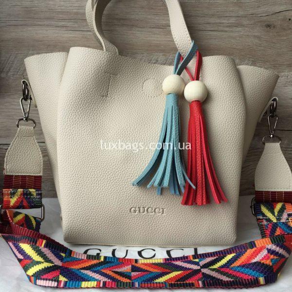 Женская сумка GUCCI большая белая фото