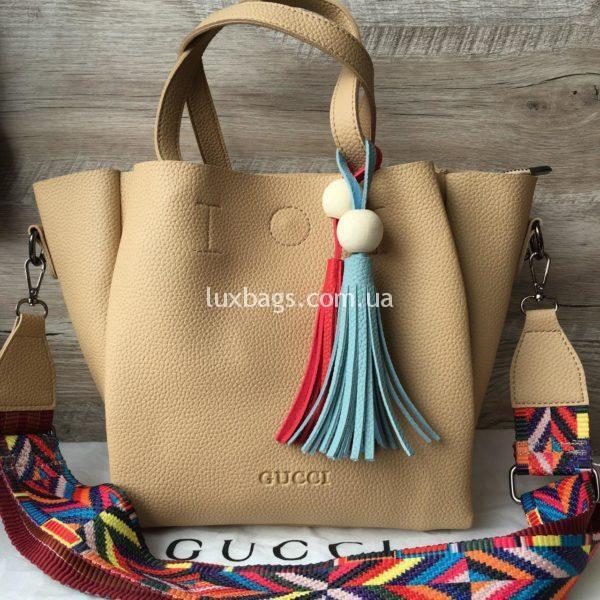 Женская сумка GUCCI большая бежевая