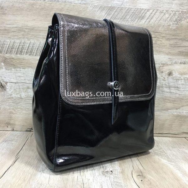 лаковый рюкзак-сумка чёрного цвета фото 7