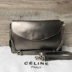 Кожаная сумка Celine бронзовая недорого
