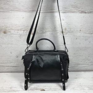 женская сумка из натуральной кожи черная модель саквояж