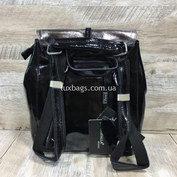 лаковый рюкзак-сумка чёрного цвета фото 6